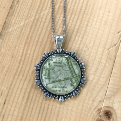 Cemeteries Map Necklace in Green